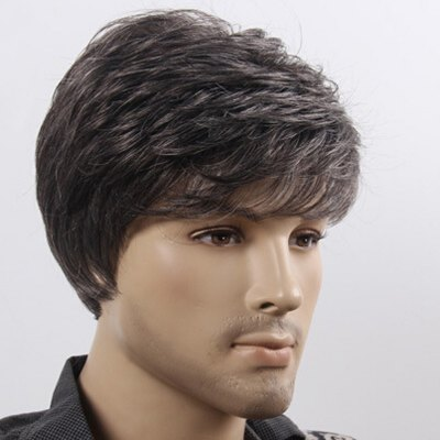 Handsome Short Capless Fluffy Natural Wave Synthetic Vogue Black White Mixed Wig For Men