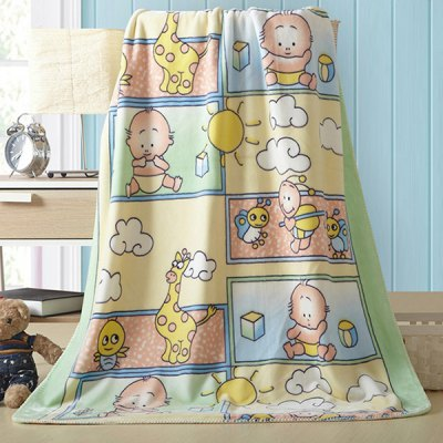 Charming Cartoon Baby Pattern Polyester Warm Baby Blanket