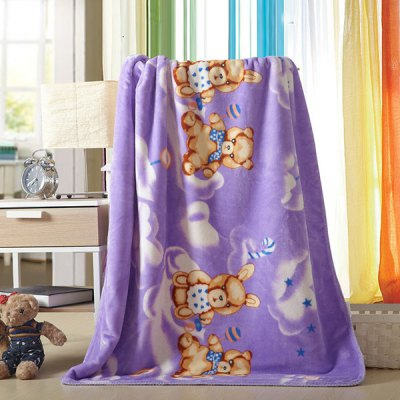Charming Cartoon Bear Printed Polyester Warm Purple Baby Blanket