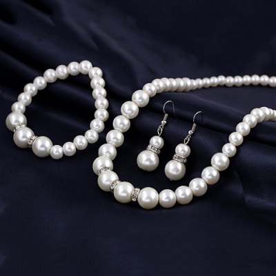 A Suit of Chic Faux Pearl Necklace Earrings and Bracelet For Women