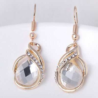 A Suit of Graceful Faux Crystal Rhinestone Water Drop Necklace and Earrings For Women