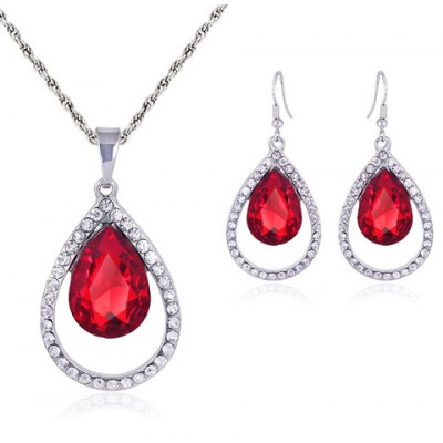 A Suit of Graceful Faux Crystal Hollow Out Water Drop Necklace and Earrings For Women