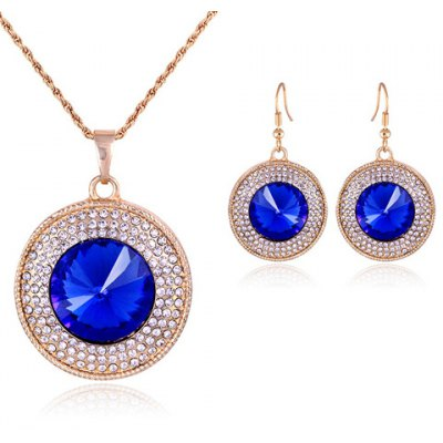 A Suit of Graceful Faux Crystal Round Pendant Necklace and Earrings For Women