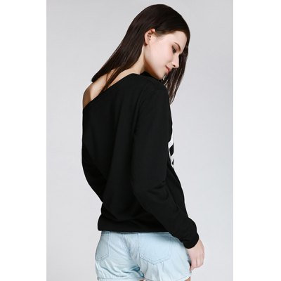 Фотография Sexy Letter Printed Slash Neck Pullover Sweatshirt For Women