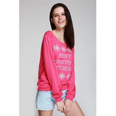Charming Skew Neck Snowflake and Letter Printed Christmas Sweatshirt For Women