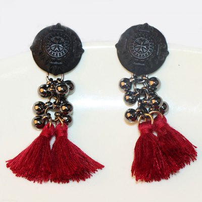 Pair of Vintage Ball Beads Tassel Earrings For Women
