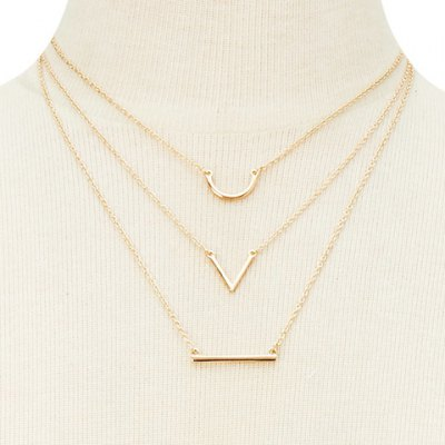 Graceful Rhinestoned Three-Layered V-Shaped Necklace For Women