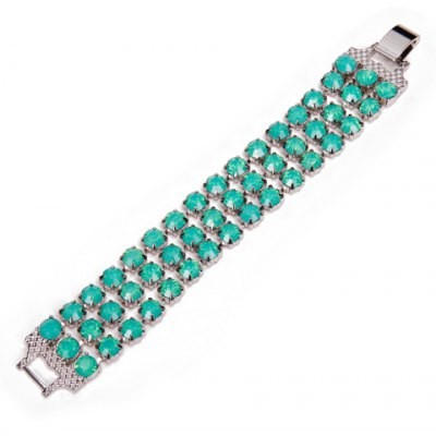 Vintage Faux Gemstone Hollow Out Bracelet For Women