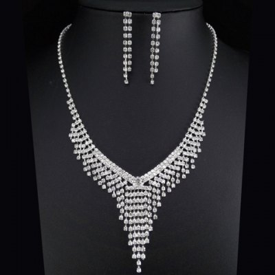 A Suit of Noble Rhinestoned Tassel Necklace and Earrings For Women
