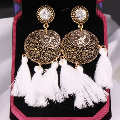 Pair of Vintage Hollow Out Tassel Coin Pendant Earrings For Women