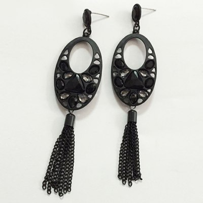 Pair of Faddish Faux Crystal Oval Earrings For Women