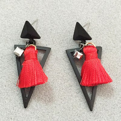 Pair of Vintage Triangle Hollow Out Tassel Earrings For Women
