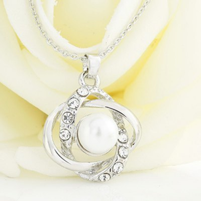 Graceful Faux Pearl Rhinestone Hollow Out Pendant Necklace For Women