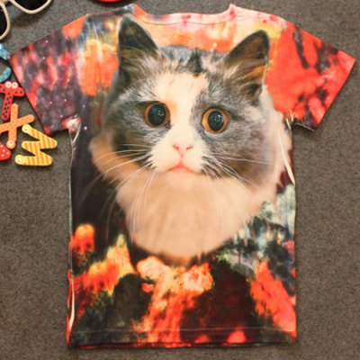 Stylish Long Sleeve Round Neck 3D Cat Print Kid's T-Shirt
