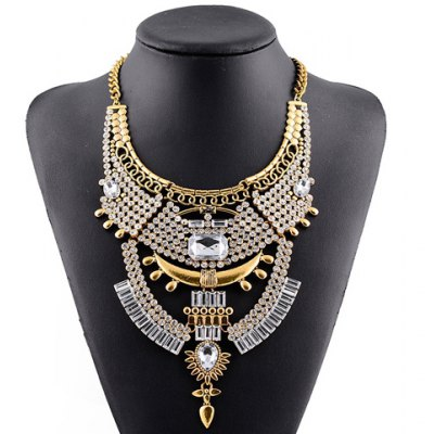 Vintage Rhinestone Faux Crystal Geometric Hollow Out Necklace For Women
