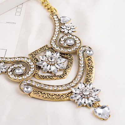 Vintage Rhinestone Faux Crystal Floral Pendant Necklace For WomenNecklaces &amp; Pendants<br>Vintage Rhinestone Faux Crystal Floral Pendant Necklace For Women<br><br>Item Type: Pendant Necklace<br>Gender: For Women<br>Style: Trendy<br>Shape/Pattern: Floral<br>Length: 49CM<br>Weight: 0.17KG<br>Package Contents: 1 x Necklace