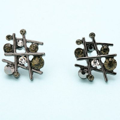 Pair of Vintage Rhinestone Irregular Hollow Out Earrings For Women