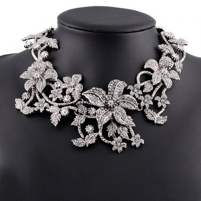 Vintage Rhinestone Floral Hollow Out Necklace For Women
