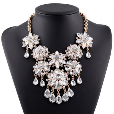 Faux Crystal Floral Water Drop Necklace