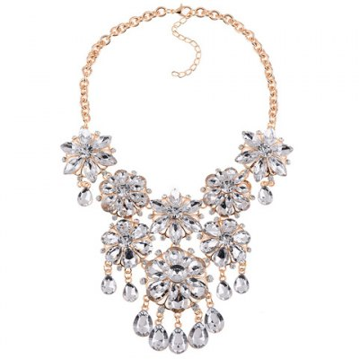 Graceful Rhinestone Faux Crystal Floral Water Drop Necklace For Women
