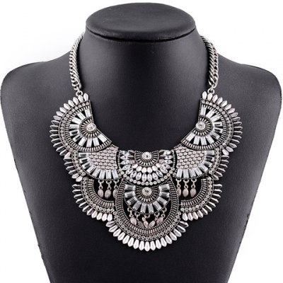 Vintage Exaggerated Rhinestone Faux Crystal Geometric Necklace For Women