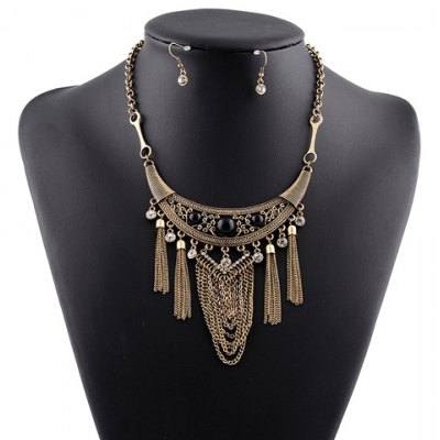A Suit of Vintage Faux Crystal Link Chain Tassel Necklace and Earrings For Women