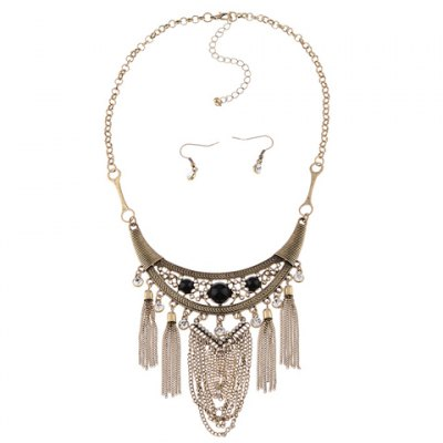 Здесь можно купить   A Suit of Vintage Faux Crystal Link Chain Tassel Necklace and Earrings For Women Necklaces & Pendants