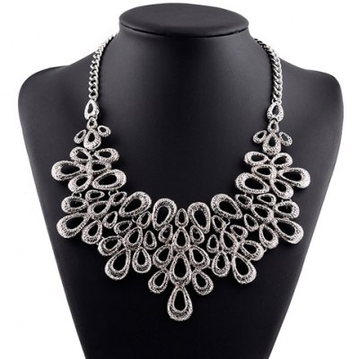 Vintage Hollow Out Water Drop Necklace For Women