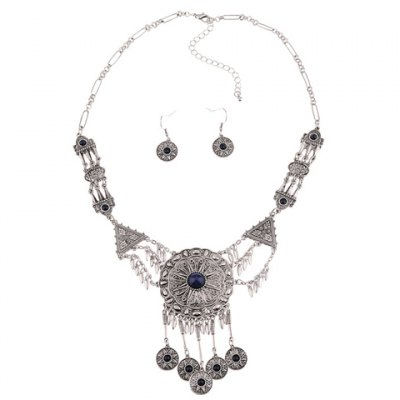 A Suit of Ethnic Faux Crystal Tassel Necklace and Earrings For WomenNecklaces &amp; Pendants<br>A Suit of Ethnic Faux Crystal Tassel Necklace and Earrings For Women<br><br>Item Type: Pendant Necklace<br>Gender: For Women<br>Style: Trendy<br>Shape/Pattern: Others<br>Length: 57CM(Necklace)/3.3CM(Earring)<br>Weight: 0.130KG<br>Package Contents: 1 x Necklace 1 x Earring(Pair)