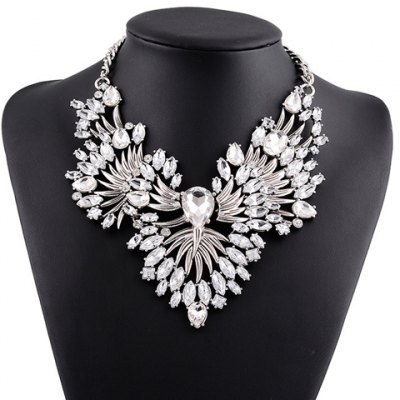 Faux Crystal Hollow Out Necklace
