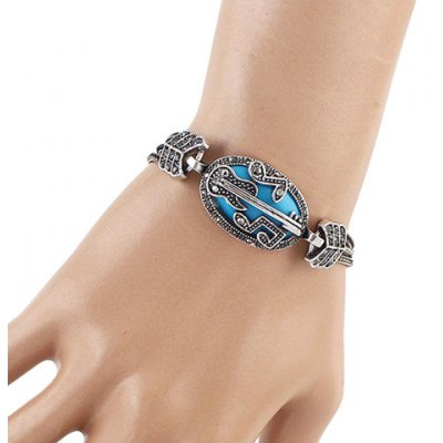 Vintage Rhinestone Music Note Guitar Shape Hollow Out Bracelet For Women