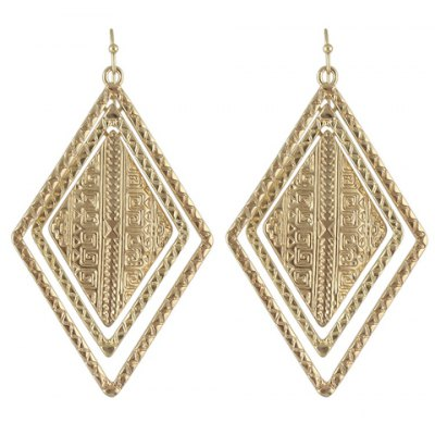 Pair of Vintage Solid Color Geometric Drop Earrings For Women
