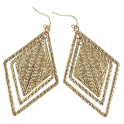 Фотография Pair of Vintage Solid Color Geometric Drop Earrings For Women