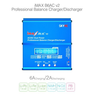 Spare SKYRC iMAX B6AC V2 6A Balance Charger LCD Display Discharger for RC Multirotor Aircraft BatteryMulti Rotor Parts<br>Spare SKYRC iMAX B6AC V2 6A Balance Charger LCD Display Discharger for RC Multirotor Aircraft Battery<br><br>Brand: SKYRC<br>Type: Balance Charger<br>Package weight: 0.65 kg<br>Package size (L x W x H): 15 x 15 x 4.5 cm / 5.90 x 5.90 x 1.77 inches<br>Package Contents : 1 x iMAX B6AC V2 Balance Charger