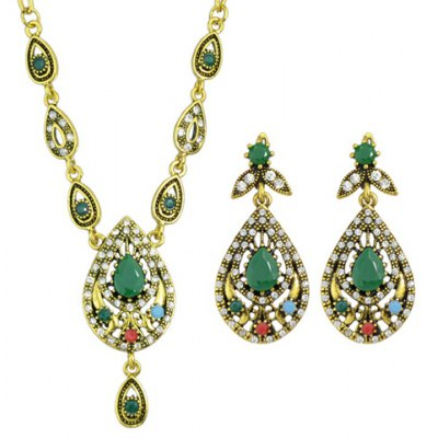 A Suit of Vintage Rhinestone Water Drop Necklace and Drop Earrings For Women