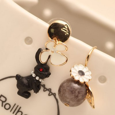 Pair of Dolce Round Bead Rabbit Shape Earrings For Women