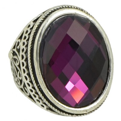 Vintage Faux Crystal Carved Ring For Women