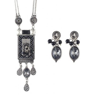 A Suit of Ethnic Faux Crystal Geometric Necklace and Earrings For Women