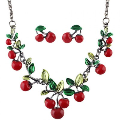A Suit of Sweet Cherry Shape Necklace and Earrings For WomenNecklaces &amp; Pendants<br>A Suit of Sweet Cherry Shape Necklace and Earrings For Women<br><br>Item Type: Pendant Necklace<br>Gender: For Women<br>Style: Trendy<br>Shape/Pattern: Others<br>Length: 55CM(Necklace)/2.3CM(Earring)<br>Weight: 0.09KG<br>Package Contents: 1 x Necklace 1 x Earring(Pair)