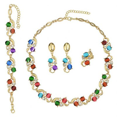 A Suit of Delicate Faux Crystal Necklace Bracelet and Earrings For Women