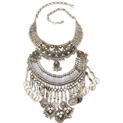 Vintage Exaggerated Alloy Hollow Out Geometric Coin Pendant Necklace For Women