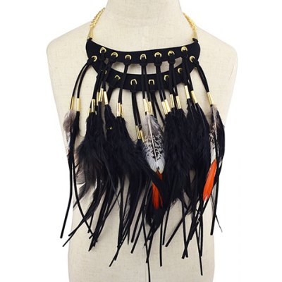 Vintage Faux Leather Feather Necklace