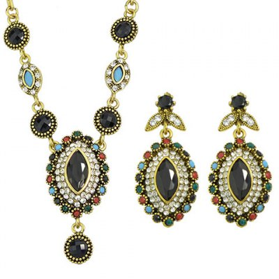 A Suit of Vintage Faux Crystal Oval Shape Necklace and Earrings For WomenNecklaces &amp; Pendants<br>A Suit of Vintage Faux Crystal Oval Shape Necklace and Earrings For Women<br><br>Item Type: Pendant Necklace<br>Gender: For Women<br>Style: Trendy<br>Shape/Pattern: Others<br>Length: 50CM(Necklace)/4.6CM(Earring)<br>Weight: 0.08KG<br>Package Contents: 1 x Necklace 1 x Earring(Pair)