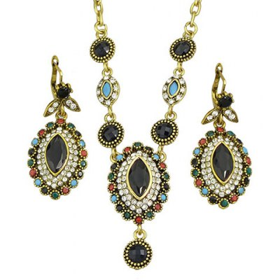 A Suit of Vintage Faux Crystal Oval Shape Necklace and Earrings For Women