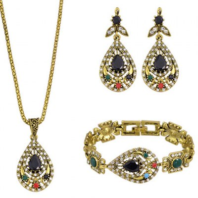 A Suit of Delicate Faux Crystal Water Drop Necklace Bracelet and Earrings For Women