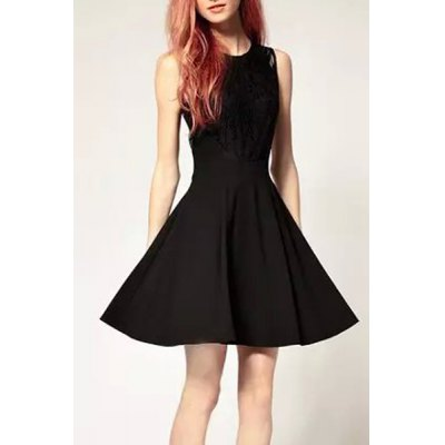 Elegant Round Collar Black Lace Spliced Dress For WomenWomens Dresses<br>Elegant Round Collar Black Lace Spliced Dress For Women<br><br>Style: Brief<br>Material: Polyester, Lace<br>Fabric Type: Chiffon<br>Silhouette : Pleated<br>Dresses Length: Mini<br>Neckline: Round Collar<br>Sleeve Length: Sleeveless<br>Pattern Type: Solid<br>With Belt: No<br>Season: Fall, Winter<br>Weight: 0.37KG<br>Package Contents: 1 x Dress