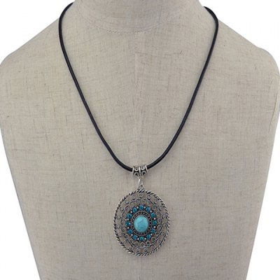 Bohemian Style Rhinestone Faux Turquoise Oval Hollow Out Necklace For Women