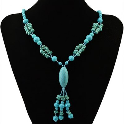 Bohemian Style Faux Turquoise Oval Beads Necklace