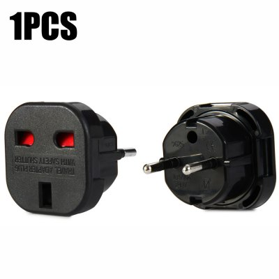 1PCS 9625-KB EU Plug to UK Socket Adapter