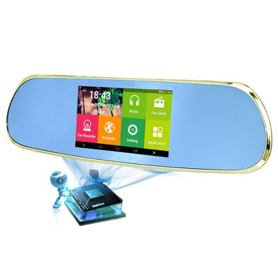 Q9 Android Car Rearview Mirror GPS Navigator DVR with Free Map